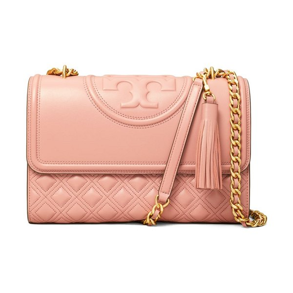 Tory Burch fleming convertible leather shoulder bag in pink mango