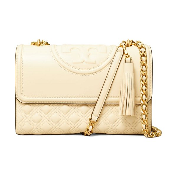 Tory Burch fleming convertible leather shoulder bag in new cream