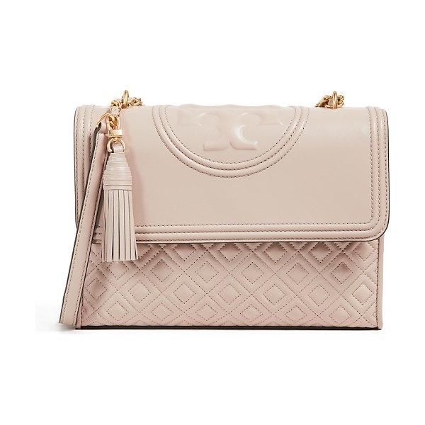 Tory Burch fleming convertible shoulder bag in light taupe