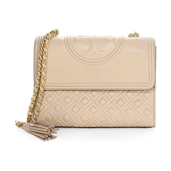 TORY BURCH fleming convertible shoulder bag in newmink - Quilted leather shoulder bag with polished hardware....