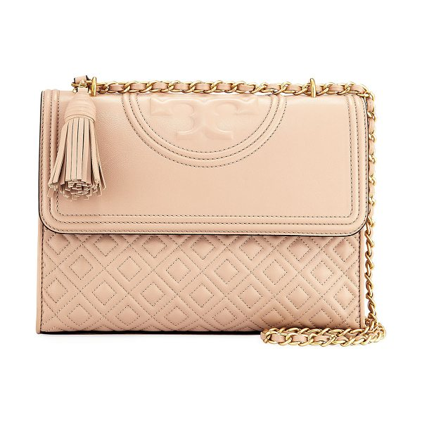 Tory Burch Fleming Convertible Shoulder Bag in new mink - Tory Burch convertible quilted leather shoulder bag with...