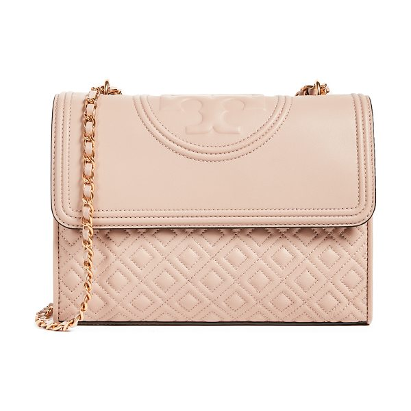 TORY BURCH fleming convertible shoulder bag in new mink - A quilted Tory Burch bag with a logo-embossed top flap....