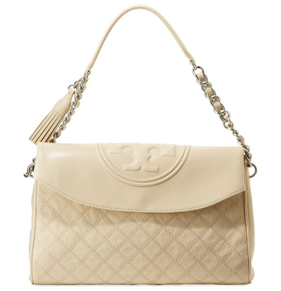 Tory Burch Fleming Distressed Leather Hobo Bag in cream - Tory Burch shoulder bag in quilted distressed leather....