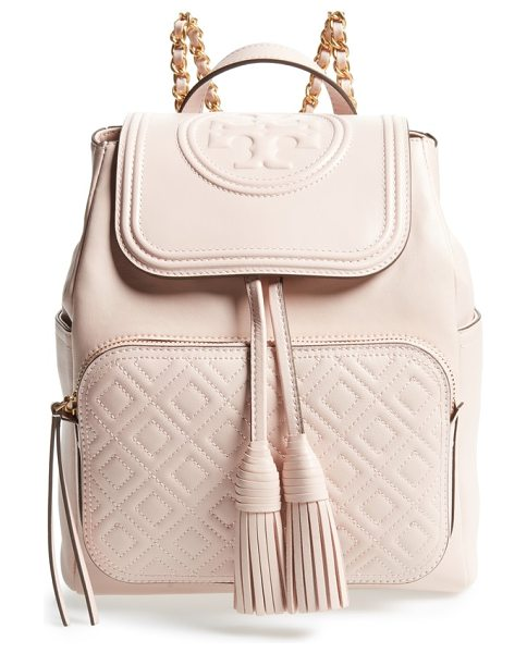 TORY BURCH fleming lambskin leather backpack in shell pink - A topstitched flap embossed with an iconic double-T logo...