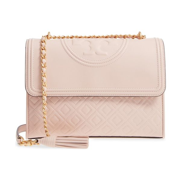 Tory Burch fleming leather convertible shoulder bag in pink
