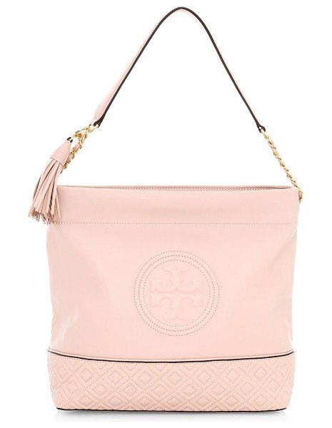 Tory Burch fleming leather hobo bag in shell pink