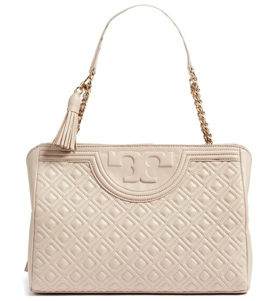 Tory Burch fleming leather shoulder bag in bedrock
