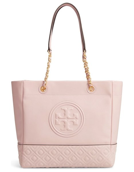 Tory Burch fleming leather tote in pink - Debossed logo detailing and square-quilted texture at...