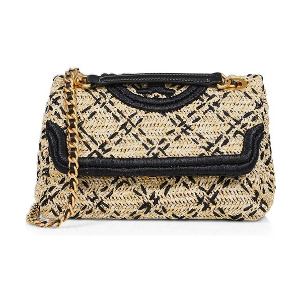 Tory Burch fleming leather-trimmed raffia shoulder bag in natural