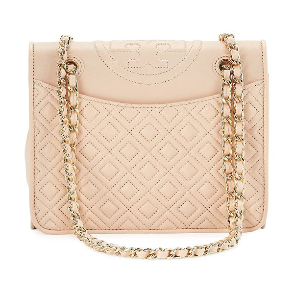 Tory Burch Fleming Medium Quilted Shoulder Bag in pale apricot - Tory Burch quilted leather shoulder bag with golden...