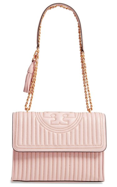 Tory Burch fleming mini stud leather convertible shoulder bag in pink - Stud-quilted lambskin leather and a iconic double-T...