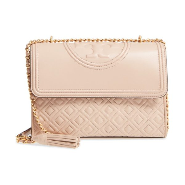 Tory Burch fleming leather convertible shoulder bag in new mink - Diamond-quilted lambskin leather and a topstitched...