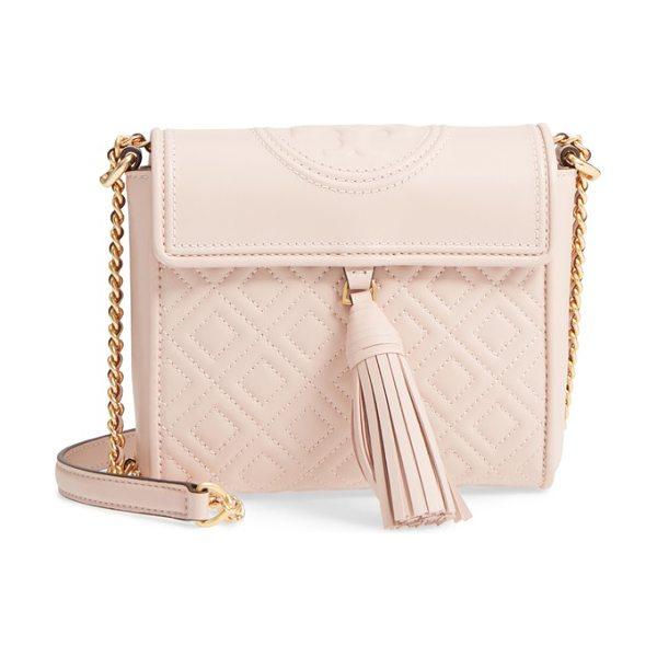 Tory Burch fleming quilted leather crossbody bag in shell pink - Diamond-quilted lambskin leather and bold logo embossing...