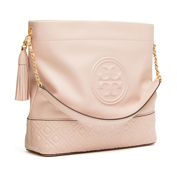 Tory Burch Fleming Quilted Leather Hobo Bag in pink