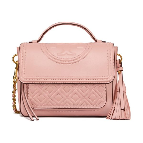 Tory Burch fleming quilted leather top handle satchel in shell pink - Diamond-quilted leather and bold logo embossing adds a...