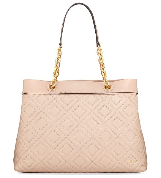 Tory Burch Fleming Quilted Leather Tote Bag in new mink - Tory Burch tote bag in quilted leather with golden...