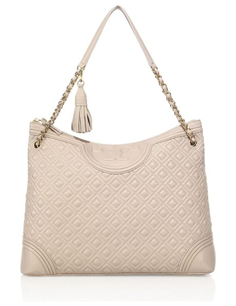 Tory Burch fleming quilted leather tote in bedrock