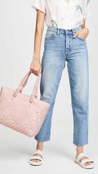 Tory Burch fleming quilted nylon small tote in mineral pink