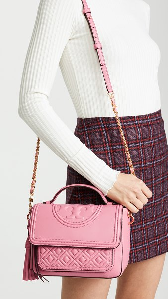 Tory Burch fleming satchel in elephant pink - Exclusive to Shopbop Leather: Lambskin Quilted leather...