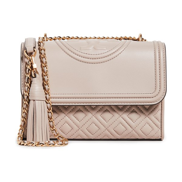 Tory Burch fleming small convertible shoulder bag in light taupe