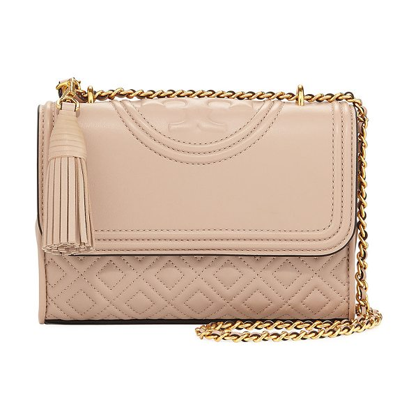 Tory Burch Fleming Small Convertible Shoulder Bag in new mink - Tory Burch diamond-quilted leather shoulder bag with...