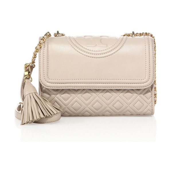 Tory Burch fleming small quilted leather shoulder bag in bedrock - Diamond-quilted flap silhouette with woven chain strap....