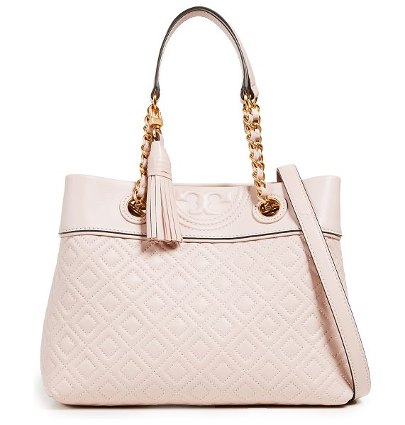 Tory Burch fleming small tote bag in shell pink - Leather: Lambskin Quilted texture Magnetic closure at...