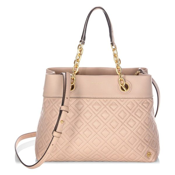 TORY BURCH diamond stitched leather satchel - Chains and a quilted design complement this leather...