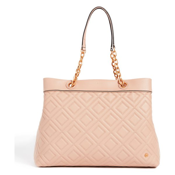 Tory Burch fleming triple compartment tote in new mink - A spacious Tory Burch tote in luxe, quilted leather. The...