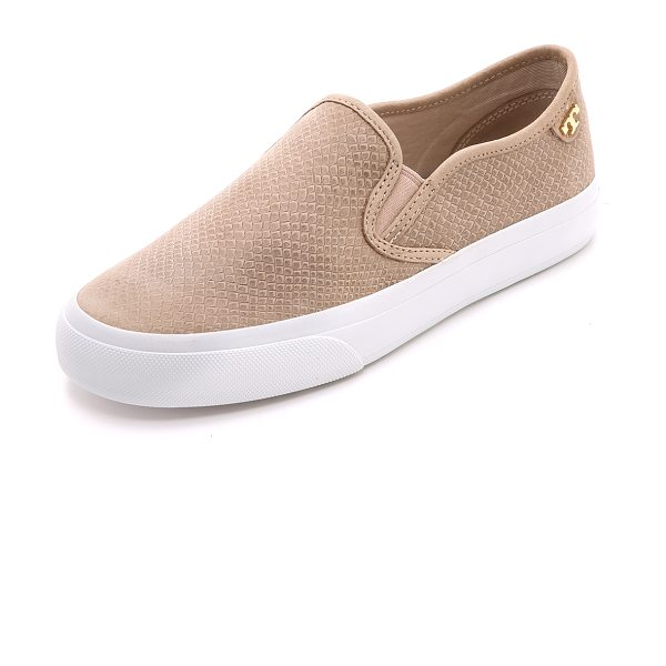 Tory Burch Floyd slip on sneakers in taupe - Burnishing creates a mottled effect on snake embossed...