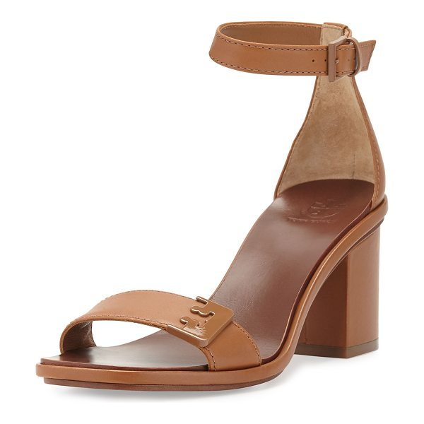 "Tory Burch Gabrielle leather city sandal in royal tan - Tory Burch napa leather city sandal. 3"" covered block..."