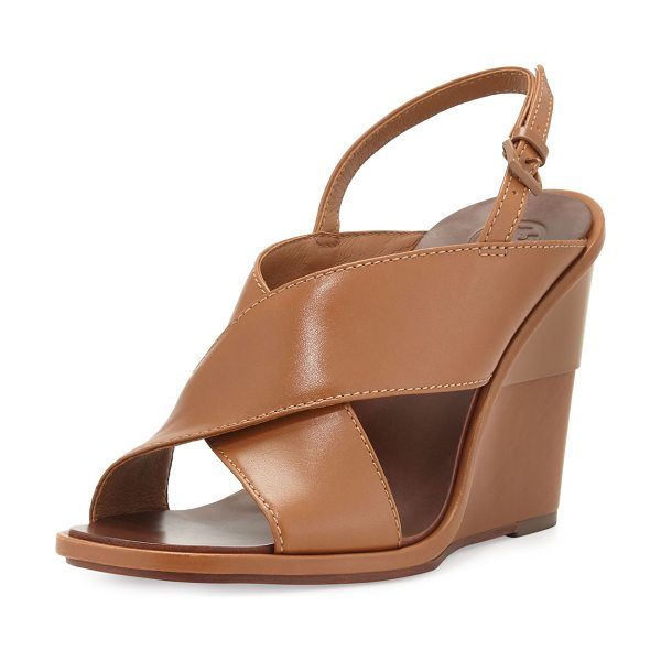 "Tory Burch Gabrielle leather wedge sandal in royal tan - Tory Burch napa leather sandal. 4"" covered wedge heel..."