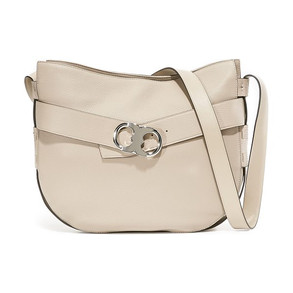 Tory Burch gemini link shoulder bag in french gray - A decorative belt with a polished logo buckle circles...