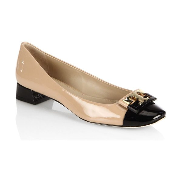 Tory Burch gigi colorblock patent leather ballet flats in beige - Glossy colorblock ballet flatswith polished logo buckle....