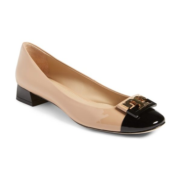 Tory Burch gigi pump in tory beige/ black - A color-blocked cap toe adds jaunty polish to a classic...