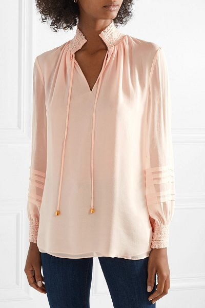 Tory Burch haley shirred silk blouse in pink - Tory Burch's 'Haley' blouse is made from lightweight...