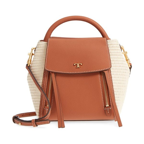 Tory Burch half moon straw & leather crossbody bag in natural / classic tan - Woven-straw side insets refresh the look of this popular...