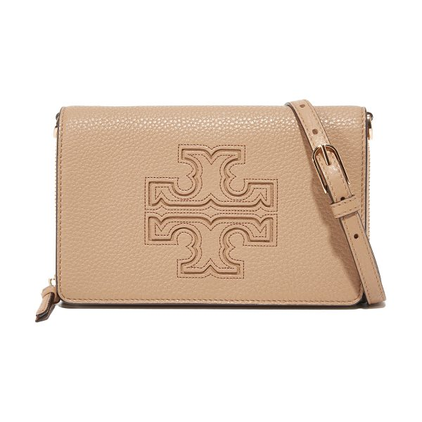 Tory Burch harper flat wallet cross body bag in vintage camel - A prominent logo emblem accents this pebbled-leather...