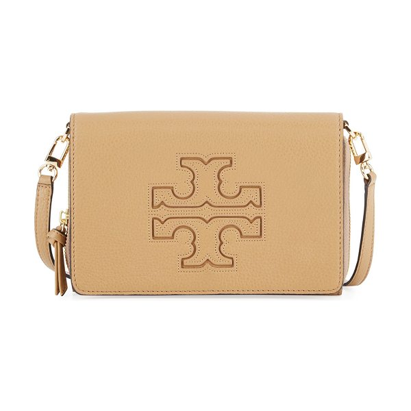Tory Burch Harper Flat Wallet Crossbody Bag in vintage camel - Tory Burch pebbled leather wallet crossbody bag. Golden...