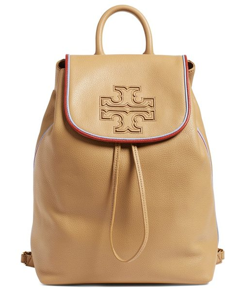 Tory Burch Harper stripe leather backpack in vintage camel/ redwood