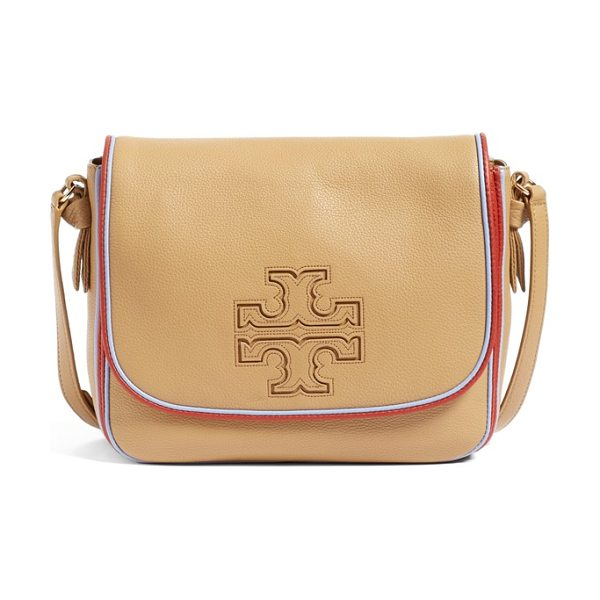 Tory Burch Harper stripe leather crossbody bag in vintage camel/ redwood/ blue