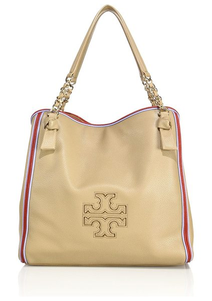 Tory Burch Harper stripe leather tote in vintagecamel - Spacious pebbled leather tote with colorful stripe trim....