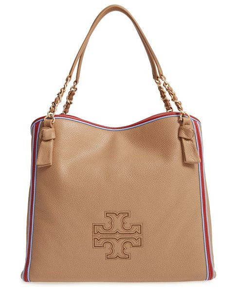 Tory Burch Harper stripe leather tote in vintage camel/ redwood/ blue - Vibrant piping outlines a slouchy tote crafted from...