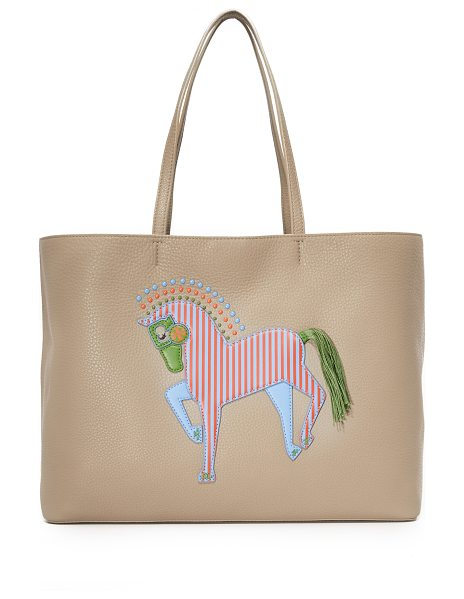 TORY BURCH Horse tote in french gray - A colorful leather horse appliqué details the front of...