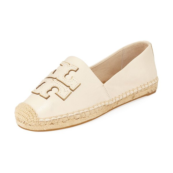 Tory Burch Ines Flat Leather Logo Espadrilles in cream