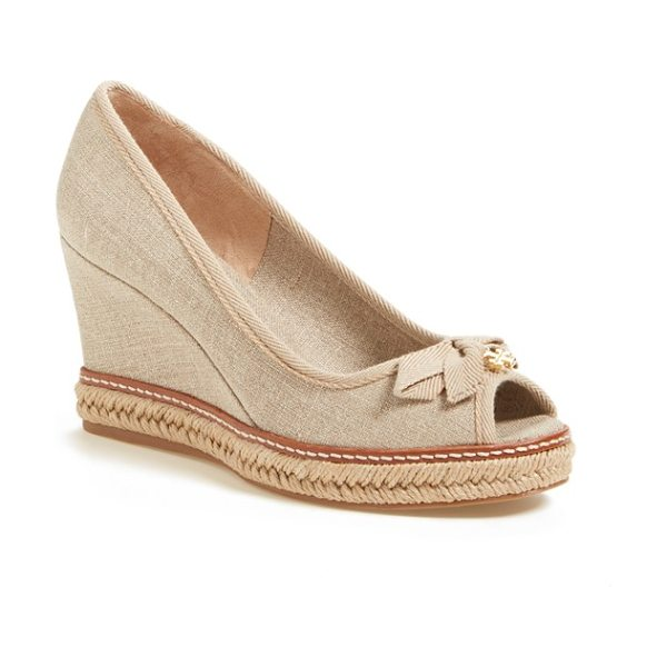 Tory Burch jackie 2 peep toe wedge in natural-silver - A logo-embellished bow adds a touch of signature flair...