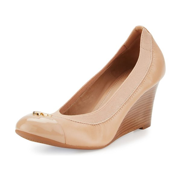 "Tory Burch Jolie Logo 65mm Wedge Pump in beige - Tory Burch napa leather pump. 2.6"" stacked wedge heel...."