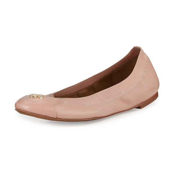 "Tory Burch Jolie logo ballerina flat in clay pink - Tory Burch leather ballerina flat. 0. 3"" flat stacked..."