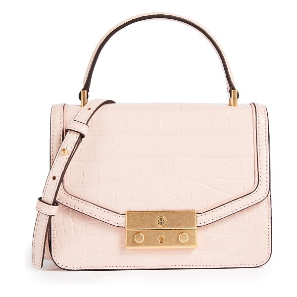 TORY BURCH juliette croc mini top handle cross body bag - Leather: Cowhide Push-button clasp at front Patch...