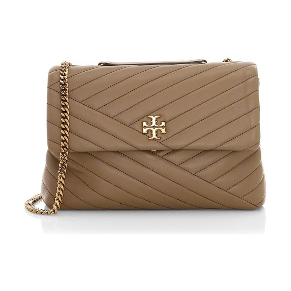 Tory Burch kira chevron leather shoulder bag in classic taupe